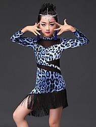 Dança Latina Vestidos Crianças Actuação Fibra de Leite Estampado Animal 1 Peça Manga Comprida VestidosSuitable Height