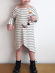 Girl's Casual/Daily Striped Dress,Cotton Spring / Fall Long Sleeve