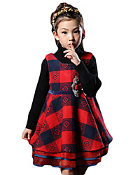 Girl's Casual/Daily Plaid Dress,Cotton Spring / Fall Sleeveless