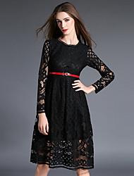 Lace Robe Femme Sortie / Soirée / Cocktail Sexy / Chic de Rue,Couleur Pleine Col Arrondi Mi-long Manches Longues Rose / Blanc / Noir Coton