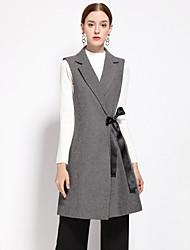 YZXH Women's Casual/Daily Simple CoatSolid Notch Lapel Sleeveless Fall / Winter Gray Wool