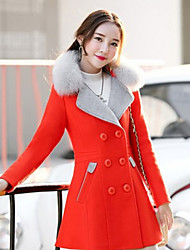 Women's Going out / Beach / Party/Cocktail Simple Pea Coats,Solid Shirt Collar Long Sleeve Fall / Winter Pink / Red / Orange Wool Medium