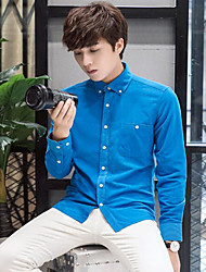 Men's Formal / Club / Sports Sexy / Cute / Chinoiserie Fall / Winter Shirt,Solid Shirt Collar Long SleeveBlue / Red / White / Black /