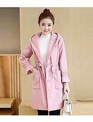 Sign 2016 new woolen coat Girls long paragraph Korean students wild dark button woolen coat loose