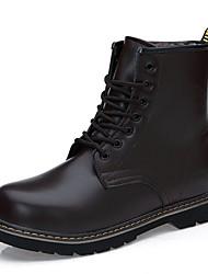 Men's Boots Winter Comfort PU Casual Low Heel Lace-up Black Brown Burgundy