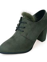 Damen-High Heels-Kleid / Lässig-Wildleder-Blockabsatz-Komfort-Schwarz / Grün