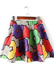 Women's A Line Print Skirts,Casual/Daily Simple Mid Rise Mini Elasticity Polyester Micro-elastic Summer