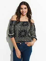 Women's Casual/Daily Sexy / Street chic Summer Blouse,Print Boat Neck ½ Length Sleeve Blue Cotton Thin