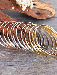 Kalen Multi-strand Female Bangles 12pcs 55*3.8mm Tri-Color Silver Color Gold Plated Rose Gold Plated Stainless Steel Bangles Bracelets Gifts