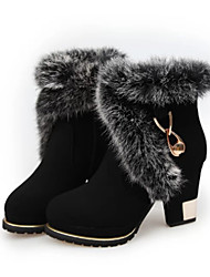 Women's Boots Winter Comfort Leatherette Casual Chunky Heel Black