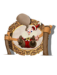 3D Naughty Santa Claus Hole PVC  Decorative Skin Wall Stickers  for Bedroom