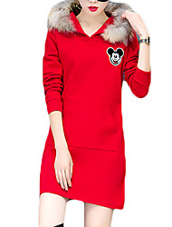 Women's Casual/Daily Simple A Line Dress,Animal Print Hooded Above Knee Long Sleeve Red / White / Gray Polyester Winter Mid Rise