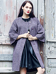 Xuanyan Women's Casual/Daily Simple CoatSolid Crew Neck  Sleeve Winter Purple Wool / Polyester