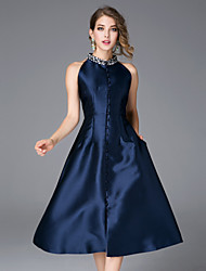 Feminino Evasê Vestido,Casual Simples Sólido Colarinho Chinês Médio Sem Manga Azul / Vermelho Algodão / Poliéster Outono Cintura MédiaSem