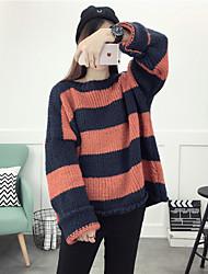 Damen Kurz Pullover-Ausgehen Lässig/Alltäglich Niedlich Gestreift Rot Rundhalsausschnitt Langarm Acryl Herbst Winter Mittel