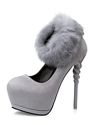 Women's Stiletto Heels/Fashion Style/Platform Suede&Fur/Party & Evening/Dress/Luxury Black/Red/Gray
