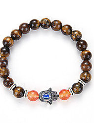 The Hand Of Natural Stone Fatima Tiger Eye Beads Bracelet