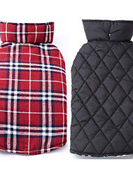 Dog Coat / Jacket Red / Green / Brown / Beige Dog Clothes Winter / Spring/Fall Plaid/Check Reversible / Keep Warm