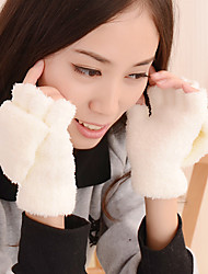 Women's Knitwear Pure Colour Removable Lamb Fur Fingertips Wrist Length Cute Winter Gloves