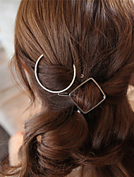 Women's Fashion Simple Geometric Square Metal Hairpin Unique Design Hairpins Hair Accessories  1 Piece