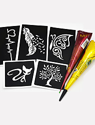 5 Pieces Small Henna Stencil 2 Pieces Black and Brown Colors Henna Paste Body Paint DIY Draw Hollow Tattoo Stencil