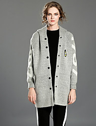 Damen Standard Strickjacke-Lässig/Alltäglich Niedlich Druck Grau Mit Kapuze Langarm Kunstseide Polyester Nylon Winter Mittel