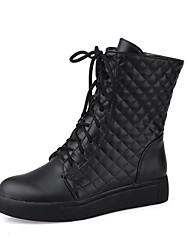 Women's Low-top Solid Lace-up Round Closed Toe Low-Heels Boots