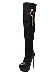 Mujer-Tacón Stiletto Plataforma-Plataforma-Botas-Vestido-Semicuero-Negro