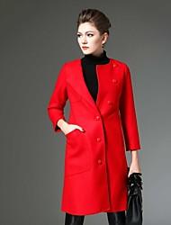 Женский На каждый день Однотонный Пальто V-образный вырез,Винтаж Зима Красный Длинный рукав,Хлопок / Полиэстер,Средняя