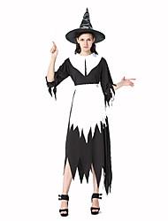 Sorcier/Sorcière Fête / Célébration Déguisement Halloween Blanc / Noir Couleur Pleine Robe / Tablier / ChapeauHalloween / Noël / Carnaval