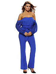 Women's Royal Blue Tie Waist Long Sleeve Off Shoulder Jumpsuit