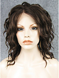 IMSTYLE 14''Hot Selling Brown Short Wave Synthetic Lace Front Wigs Heat Resistant Fiber