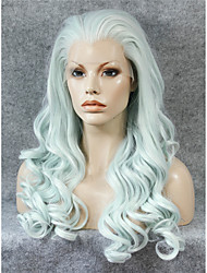 IMSTYLE 24''Popular Mint Green Heat Resistant Long Wave Synthetic Lace Front Wig Hot Selling