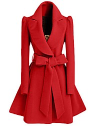 Women's Bow Going out / Casual/Daily Simple Coat,Solid V Neck Long Sleeve Winter Red / Black Polyester Medium