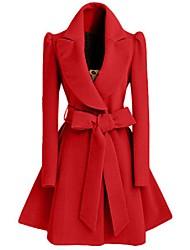 Женский На выход / На каждый день Однотонный Пальто V-образный вырез,Простое Зима Красный / Черный Длинный рукав,Полиэстер,Средняя