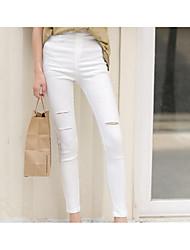 Damen Retro Mittlere Hüfthöhe Mikro-elastisch Jeans Skinny Hose einfarbig