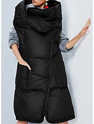 Women's Regular Down Coat,Simple / Active Going out / Casual/Daily Solid-Polyester White Duck Down Sleeveless Stand Black