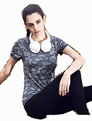 Laufen T-shirt Damen Kurze Ärmel Atmungsaktiv / Rasche Trocknung Elastan Yoga / Freizeit Sport / Laufen Sportbekleidung Dehnbar Schlank