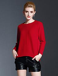 Mujer Regular Pullover Casual/Diario Simple,Un Color Rojo Escote Redondo Manga Larga Poliéster Otoño Invierno Medio Elástico