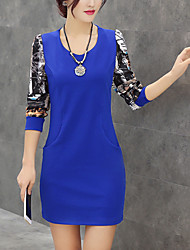 Women's Plus Size / Going out / Casual/Daily Street chic Sheath Dress,Print Round Neck Mini Long SleeveBlue / Red / Black / Green /