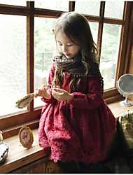 Girl's Casual/Daily Solid Dress,Cotton Winter Long Sleeve