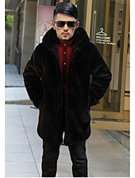 Men's Casual/Daily Vintage Fur Coat,Solid Stand Long Sleeve Winter Black Faux Fur Thick