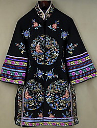 Women's Casual/Daily Chinoiserie Coat,Print Stand ¾ Sleeve Fall / Winter Blue / Black Polyester Medium