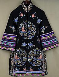 Feminino Casaco Casual Temática Asiática Outono / Inverno,Estampado Azul / Preto Poliéster Colarinho Chinês-Manga ¾ Média