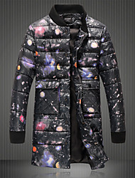 Men's Long Down Coat,Simple Going out Galaxy-Cotton Cotton Long Sleeve Round Neck Black