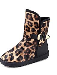 Women's Boots Winter Comfort Leatherette Casual Flat Heel Black Yellow