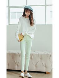 Damen Skinny Jeans Hose-Lässig/Alltäglich / Sport Einfach / Aktiv einfarbig Mittlere Hüfthöhe Reisverschluss Baumwolle Micro-elastisch