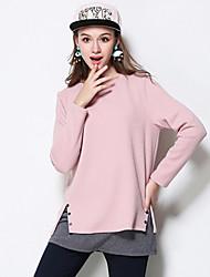 Feminino Camiseta Casual / Tamanhos Grandes Simples Outono / Inverno,Sólido Rosa Algodão / Poliéster Decote Redondo Manga Longa Média