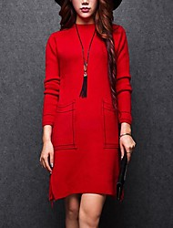 Women's Going out / Casual/Daily Simple Bodycon Dress,Solid Round Neck Knee-length Long Sleeve Red / White / Black / Gray / Green