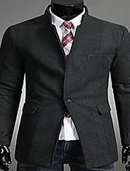 Masculino Casaco Casual Simples Primavera / Outono,Sólido Vermelho / Preto / Cinza Algodão Colarinho Chinês-Manga Longa Média